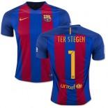 16/17 Barcelona #1 Marc-Andre Ter Stegen Blue & Red Stripes Home Replica Jersey