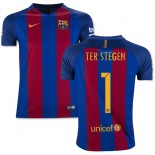 Youth 16/17 Barcelona #1 Marc-Andre Ter Stegen Blue & Red Stripes Home Replica Jersey