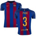 Youth 16/17 Barcelona #3 Gerard Pique Blue & Red Stripes Home Replica Jersey