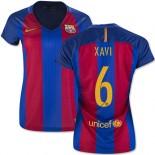 Women's 16/17 Barcelona #6 Xavi Hernandez Blue & Red Stripes Home Replica Jersey