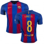 16/17 Barcelona #8 Andres Iniesta Blue & Red Stripes Home Replica Jersey