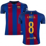 Youth 16/17 Barcelona #8 Andres Iniesta Blue & Red Stripes Home Replica Jersey
