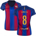 Women's 16/17 Barcelona #8 Andres Iniesta Blue & Red Stripes Home Replica Jersey