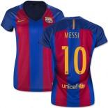 Women's 16/17 Barcelona #10 Lionel Messi Blue & Red Stripes Home Replica Jersey