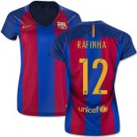 Women's 16/17 Barcelona #12 Rafinha Blue & Red Stripes Home Authentic Jersey