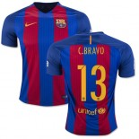 16/17 Barcelona #13 Claudio Bravo Blue & Red Stripes Home Replica Jersey