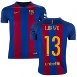 Youth 16/17 Barcelona #13 Claudio Bravo Blue & Red Stripes Home Authentic Jersey
