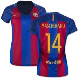 Women's 16/17 Barcelona #14 Javier Mascherano Blue & Red Stripes Home Authentic Jersey