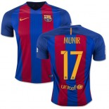 16/17 Barcelona #17 Munir El Haddadi Blue & Red Stripes Home Authentic Jersey