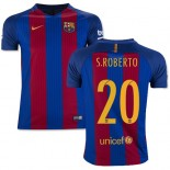 Youth 16/17 Barcelona #20 Sergi Roberto Blue & Red Stripes Home Authentic Jersey