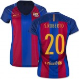 Women's 16/17 Barcelona #20 Sergi Roberto Blue & Red Stripes Home Authentic Jersey