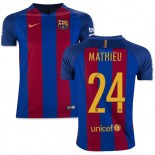 Youth 16/17 Barcelona #24 Jeremy Mathieu Blue & Red Stripes Home Replica Jersey