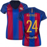 Women's 16/17 Barcelona #24 Jeremy Mathieu Blue & Red Stripes Home Authentic Jersey