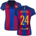 Women's 16/17 Barcelona #24 Jeremy Mathieu Blue & Red Stripes Home Replica Jersey