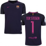 Youth 16/17 Barcelona #1 Marc-Andre Ter Stegen Purple Away Authentic Jersey