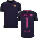 Youth 16/17 Barcelona #1 Marc-Andre Ter Stegen Purple Away Replica Jersey