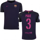 Youth 16/17 Barcelona #3 Gerard Pique Purple Away Authentic Jersey