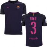 Youth 16/17 Barcelona #3 Gerard Pique Purple Away Replica Jersey