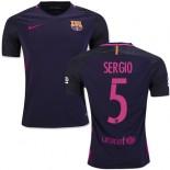 16/17 Barcelona #5 Sergio Busquets Purple Away Authentic Jersey