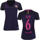 Women's 16/17 Barcelona #6 Xavi Hernandez Purple Away Authentic Jersey