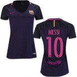 Women's 16/17 Barcelona #10 Lionel Messi Purple Away Authentic Jersey