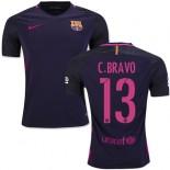 16/17 Barcelona #13 Claudio Bravo Purple Away Authentic Jersey