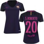 Women's 16/17 Barcelona #20 Sergi Roberto Purple Away Authentic Jersey