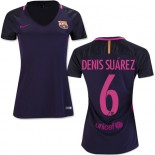 Women's 16/17 Barcelona #6 Denis Suarez Purple Away Replica Jersey