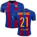 16/17 Barcelona #21 Andre Gomes Blue & Red Stripes Home Replica Jersey