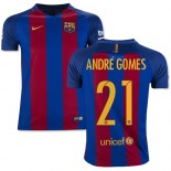 Youth 16/17 Barcelona #21 Andre Gomes Blue & Red Stripes Home Replica Jersey
