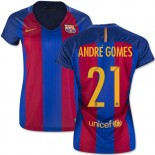 Women's 16/17 Barcelona #21 Andre Gomes Blue & Red Stripes Home Authentic Jersey