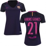 Women's 16/17 Barcelona #21 Andre Gomes Purple Away Authentic Jersey