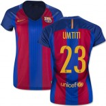 Women's 16/17 Barcelona #23 Samuel Umtiti Blue & Red Stripes Home Authentic Jersey