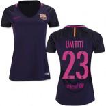 Women's 16/17 Barcelona #23 Samuel Umtiti Purple Away Authentic Jersey