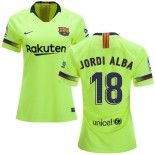 Women 2018/19 Barcelona #18 JORDI ALBA Away Authentic Light Yellow/Green Jersey