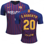 2018/19 Barcelona #20 S. ROBERTO Home Authentic Blue & Red Stripes Jersey