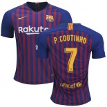 2018/19 Barcelona #7 COUTINHO Home Authentic Blue & Red Stripes Jersey