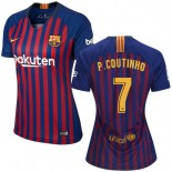 Women 2018/19 Barcelona #7 COUTINHO Home Authentic Blue & Red Stripes Jersey
