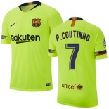 2018/19 Barcelona #7 COUTINHO Away Authentic Light Yellow/Green Jersey