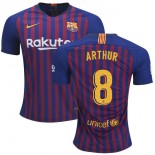 2018/19 Barcelona #8 ARTHUR Home Authentic Blue & Red Stripes Jersey