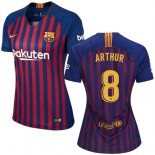 Women 2018/19 Barcelona #8 ARTHUR Home Authentic Blue & Red Stripes Jersey