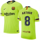 Youth 2018/19 Barcelona #8 ARTHUR Away Light Yellow/Green Jersey
