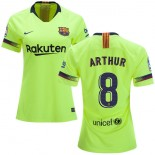 Women 2018/19 Barcelona #8 ARTHUR Away Authentic Light Yellow/Green Jersey