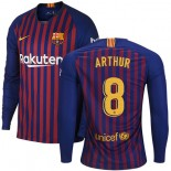 2018/19 Barcelona #8 ARTHUR Home Long Sleeve Blue & Red Stripes Jersey