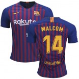 2018/19 Barcelona #14 MALCOM Home Authentic Blue & Red Stripes Jersey
