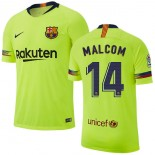 2018/19 Barcelona #14 MALCOM Away Authentic Light Yellow/Green Jersey