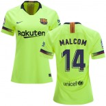 Women 2018/19 Barcelona #14 MALCOM Away Authentic Light Yellow/Green Jersey
