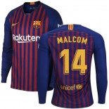 2018/19 Barcelona #14 MALCOM Home Authentic Blue & Red Stripes Jersey Long Sleeve