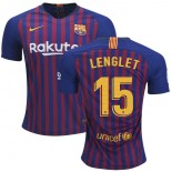 Youth 2018/19 Barcelona #15 LENGLET Home Blue & Red Stripes Jersey