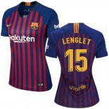 Women 2018/19 Barcelona #15 LENGLET Home Authentic Blue & Red Stripes Jersey